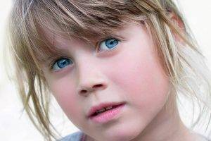 Blue Eyes Shy Girl - kids eye exam Laguna Beach CA
